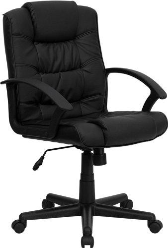 Mid Back Black Leather Swivel Task Chair
